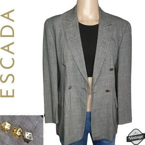 Vintage Escada Wool Blazer with Dice Buttons SZ 38